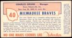 1954 Johnston Cookies #40  Charlie Grimm      Back Thumbnail
