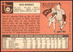 1969 Topps #105  Rick Monday  Back Thumbnail
