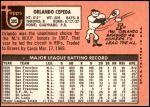 1969 Topps #385  Orlando Cepeda  Back Thumbnail