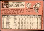 1969 Topps #194  Ted Uhlaender  Back Thumbnail