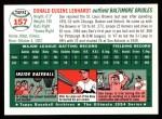 1954 Topps Archives #157  Don Lenhardt  Back Thumbnail