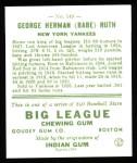 1933 Goudey Reprint #149  Babe Ruth  Back Thumbnail