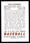 1951 Bowman REPRINT #9  Sam Chapman  Back Thumbnail