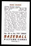 1951 Bowman REPRINT #32  Duke Snider  Back Thumbnail