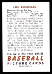 1951 Bowman REPRINT #62  Lou Boudreau  Back Thumbnail
