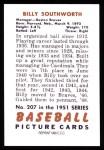 1951 Bowman REPRINT #207  Billy Southworth  Back Thumbnail