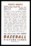 1951 Bowman REPRINT #253  Mickey Mantle  Back Thumbnail