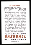 1951 Bowman REPRINT #14  Al Dark  Back Thumbnail