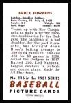 1951 Bowman REPRINT #116  Bruce Edwards  Back Thumbnail