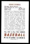 1951 Bowman REPRINT #201  Steve O'Neill  Back Thumbnail