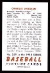 1951 Bowman REPRINT #259  Chuck Dressen  Back Thumbnail