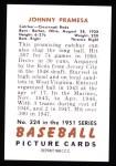 1951 Bowman REPRINT #324  John Pramesa  Back Thumbnail