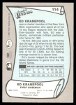 1989 Pacific Legends #114  Ed Kranepool  Back Thumbnail