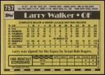 1990 Topps #757  Larry Walker  Back Thumbnail