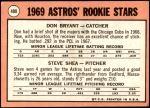 1969 Topps #499   -  Don Bryant / Steve Shea Astros Rookies Back Thumbnail