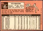 1969 Topps #398  Tito Francona  Back Thumbnail