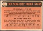 1966 Topps #333   -  Joe Coleman / Jim French Senators Rookies Back Thumbnail