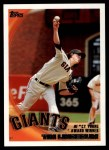 2010 Topps #9   -  Tim Lincecum NL Cy Young Award Winner Front Thumbnail
