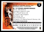 2010 Topps #9   -  Tim Lincecum NL Cy Young Award Winner Back Thumbnail