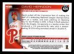 2010 Topps #424  David Herndon  Back Thumbnail