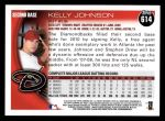 2010 Topps #614  Kelly Johnson  Back Thumbnail