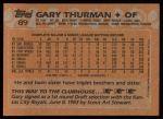 1988 Topps #89  Gary Thurman  Back Thumbnail