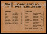 1988 Topps #759   -  Mark McGwire / Jose Canseco A's Leaders Back Thumbnail