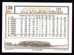 1992 Topps #130  Alvin Davis  Back Thumbnail