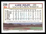 1992 Topps #206  Luis Sojo  Back Thumbnail