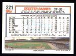 1992 Topps #221  Skeeter Barnes  Back Thumbnail