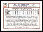 1992 Topps #306  Al Shirley  Back Thumbnail