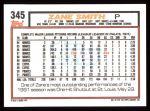 1992 Topps #345  Zane Smith  Back Thumbnail