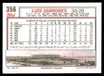 1992 Topps #356  Luis Quinones  Back Thumbnail