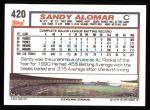 1992 Topps #420  Sandy Alomar Jr.  Back Thumbnail