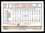 1992 Topps #531  Larry Walker  Back Thumbnail