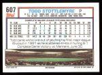 1992 Topps #607  Todd Stottlemyre  Back Thumbnail