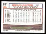 1992 Topps #611  Brian Hunter  Back Thumbnail