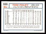 1992 Topps #666  Tom Foley  Back Thumbnail