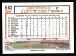 1992 Topps #683  Jim Poole  Back Thumbnail