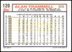 1992 Topps #120  Alan Trammell  Back Thumbnail