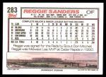 1992 Topps #283  Reggie Sanders  Back Thumbnail