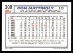 1992 Topps #300  Don Mattingly  Back Thumbnail