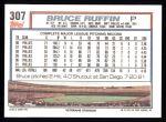 1992 Topps #307  Bruce Ruffin  Back Thumbnail