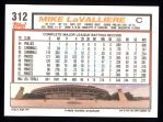 1992 Topps #312  Mike LaValliere  Back Thumbnail