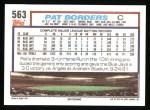 1992 Topps #563  Pat Borders  Back Thumbnail