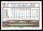 1992 Topps #681  Rene Gonzales  Back Thumbnail