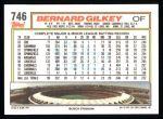 1992 Topps #746  Bernard Gilkey  Back Thumbnail