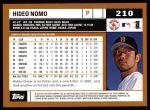 2002 Topps #210  Hideo Nomo  Back Thumbnail