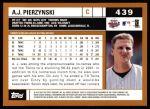 2002 Topps #439  A.J. Pierzynski  Back Thumbnail