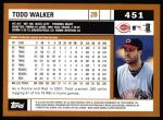2002 Topps #451  Todd Walker  Back Thumbnail